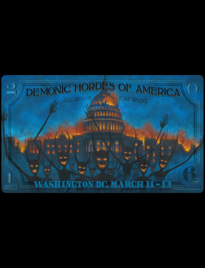 Limited Edition Washington D.C Demonic Hordes Burning the Capitol (2016) Playmat by Jesper Myrfors